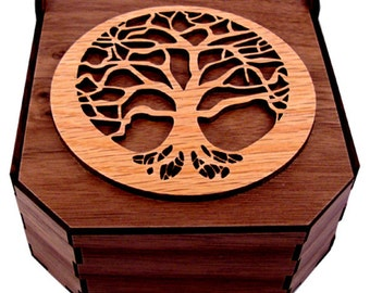 Sustainable Wooden Box - Tree of Life - Oak on Walnut - Jewelry Box