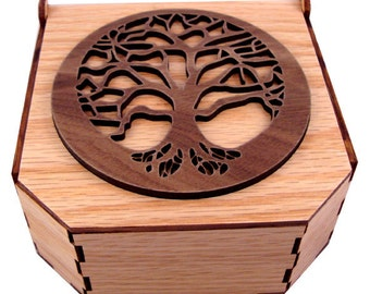 Sustainable Wooden Box - Tree of Life - Walnut on Oak - Jewelry Box