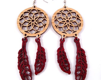 Dream Catcher Sustainable Wooden Hook Earrings - in Oak and Red Stained Maple