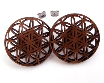 Flower of Life Sustainable Wooden Post Earrings - Center Hanging Large Walnut Wood Studs