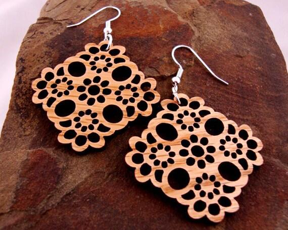Sustainable Wooden Earrings - Lace - Sustainably Harvested Oak Wood Dangle Earrings