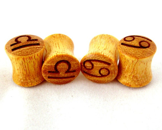 """Signs of the Zodiac Osage Orange Wooden Plugs - PAIR - 0g 8mm 00g 9mm 10mm 7/16"""" 11mm 1/2"""" 13mm 9/16"""" 14mm 5/8"""" 3/4"""" 7/8"""" 1"""" Wood Ear Gauges"""
