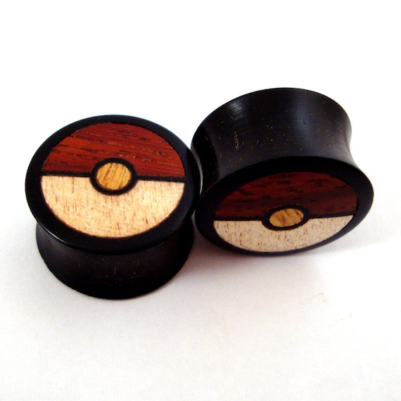 SINGLE Tri-Color Wood Inlay in Ebony Wooden Plug - available in many sizes