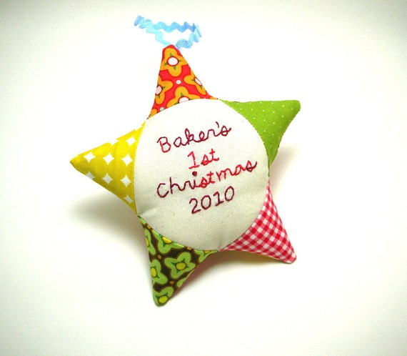 Babys First Christmas Ornament Personalized Patchwork Star