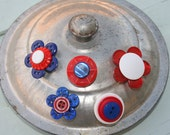 Vintage Button Magnet Set in Red, White and Blue