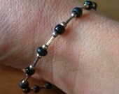 Sterling and black bead bracelet, 7.5 inch, 925 clasp, chic and dainty vintage jewelry