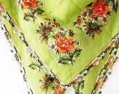 Traditional Turkish Scarf (Yazma) With Lace Work (OYA) From Wedding Chest-Bright Green