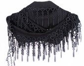 PASHMINA SCARF With Fringed Lace, Winter Trends, For Women, 2012, For Gift, BLACK