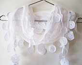 Traditional Turkish Woven Cotton Scarf With Lace, Organic, Wedding, WHITE