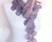 Lilac Pashmina Scarf With Lace, Fashion, For Woman, For Gift