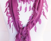 Cotton Lilac Scarf With Fringed Lace, Fashion, For Gift
