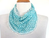 BLUE FLORAL Cotton Scarf With Lace, Fashion, Spring Sale