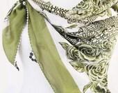 Traditional Oil Green YEMENI With Handmade Lacework (Oya) , Traditional Turkish Scarf 100% Cotton, Organic,