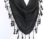 Black Fringed Cotton Scarf / Shawl, Gift, Headband, Cowl, Women