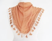Salmon Cotton Scarf With Fringed Lace, Mothers Day, Fashion, Gift, Spring