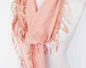 Pink Cotton Scarf With Fringed Leaf Lace, Christmas Gift, Infinity Scarf