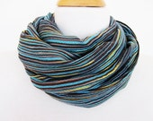 Blue and Colorful Striped Cotton Scarf / Loop, Mothers Day Gift, Spring Sale