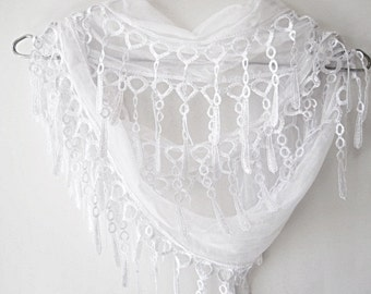 Snow White Cotton Organic Scarf With Fringed Lace, Wedding, Gift