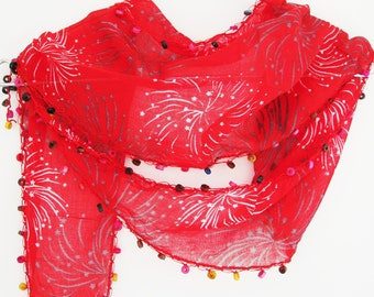 Red Scarf With Handmade Lace and Wooden Beads, For Gift, Fashion