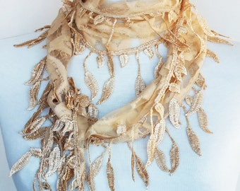Beige Stylish Scarf With Fringed Lace