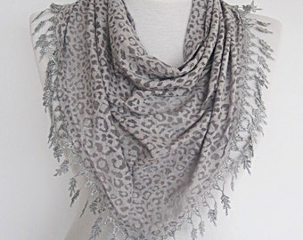 Transparent Leopard Scarf With Lace,  Gift, Sale,Summer Fashion, Wedding