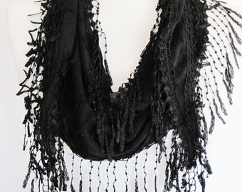 Black Cotton Scarf With Fringed Lace, Summer Trends, Gift, Headband, Cowl