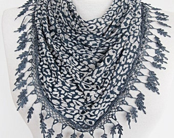 Transparent Leopard Navy Scarf With Gray Lace, Gift, Spring Sale, Fashion, Wedding