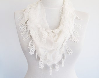 White Fringed Cotton Scarf, Wedding, Gift, Headband, Cowl