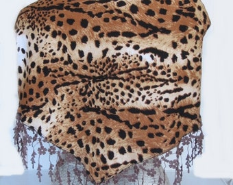 PRETTY WOMAN Scarf Or Shawl With Lace, Fashion, Wedding, For Gift, Brown Leopard