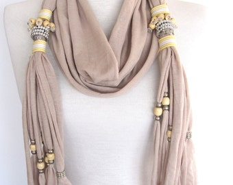 SULTANA Scarf Decorated With Crystals, Beads and Stones, Cotton, Organic, Extra Long, Stylish,Fringed, Beige