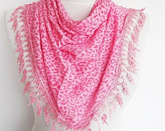 Pink Transparent Leopard Scarf With Lace, Gift, Sale, Fashion, Wedding