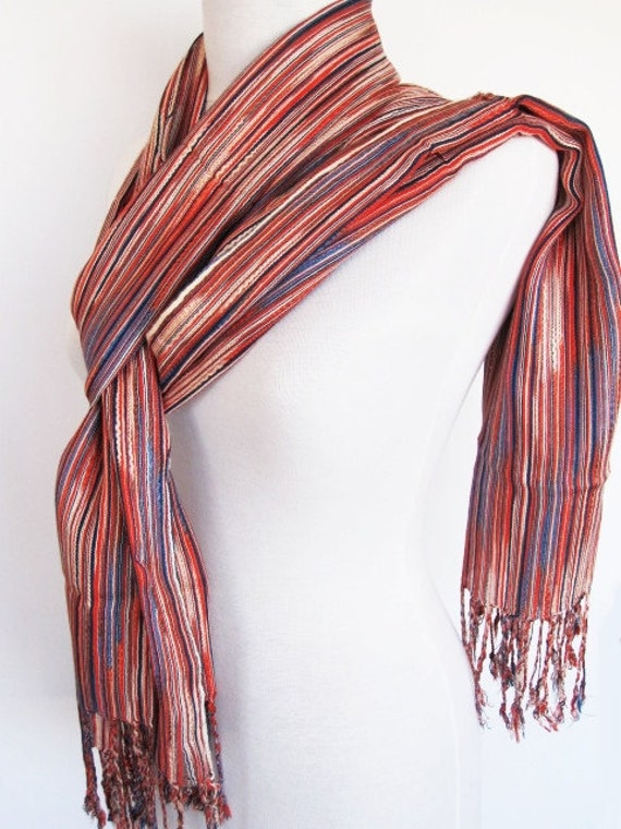 Multicolor Striped Cotton Loop / Scarf, Fashion, For Gift, RED