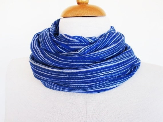 BLUE JEAN Blue and White Striped Cotton Scarf / Loop, Mothers Day, Gift, Spring Sale