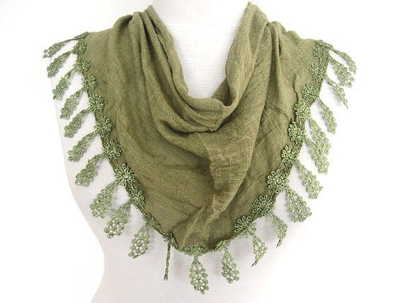 Olive Green Fringed Cotton Scarf, Mothers Day, Fashion, Spring Trends