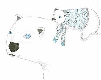 Childrens Decor, Nursery Decor, Kids Art,  Polar Bear & Cub - Limited Edition 8x10 Print by Jennie Deane