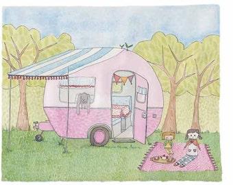 Childrens Decor - Nursery Decor, Kids Art - Nana's Caravan, Dolls picnic - Limited Edition 8x10 Print by Jennie Deane