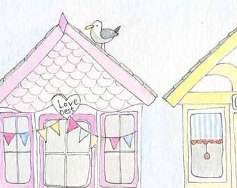 Childrens Decor, Nursery Decor, Kids Art,  Beach Huts - 8x10 Print by Jennie Deane
