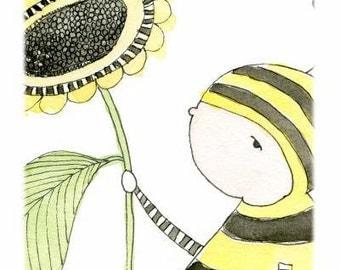 Childrens Decor - Nursery Decor, Kids Art - Bumble Bee Art - Limited Edition 8x10 Print by Jennie Deane