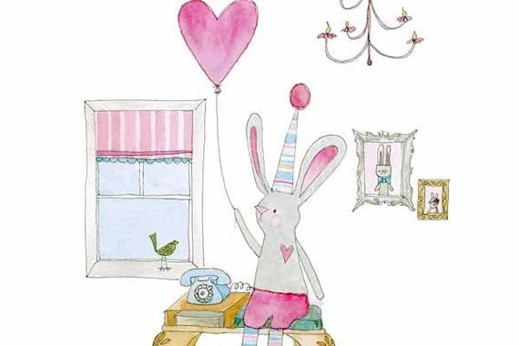 Childrens Decor, Nursery Decor, Kids Art - Nana's telephone table, Rabbit  - Limited Edition 8x10 Print by Jennie Deane