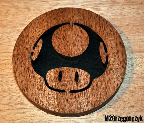 Set of 4 Made to order Mario Mushroom Coaster Black