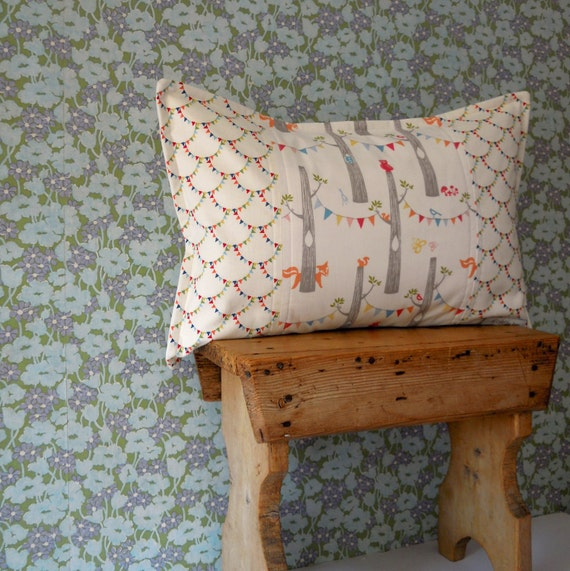 Neutral Woodland Bunting Baby Pillow