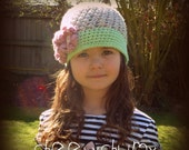 Super cute spring beanie with flowers. You choose the size. Great photo prop.
