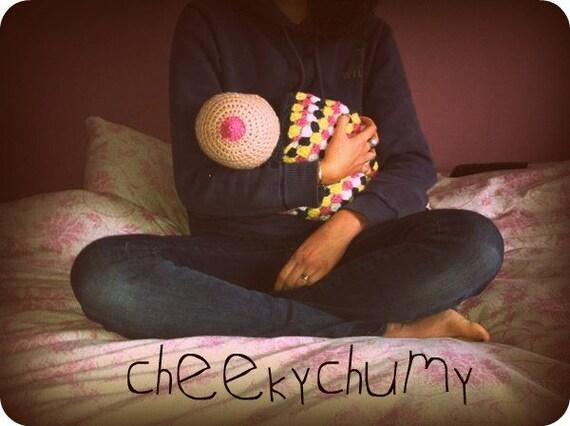 SALE. Fun crocheted boobie beanie, breastfeeding hat. Newborn size.