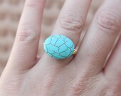 jerusalem turquoise crackle stone ring wire wrapped by Amber Sue Photography