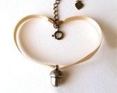 Bracelet with a little acorn and satin ribbon- Spring jewelry