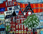"Print of an original ""Auburn Skyline"" painting (printed on watercolor paper)...Auburn art...16x20...other sizes available"