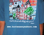 HOOTENANNY Auburn t-shirt with print of 'Auburn Skyline' from original painting...ADULT SIZES