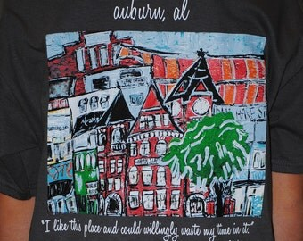 HOOTENANNY Auburn t-shirt with print of 'Auburn Skyline' from original painting...Youth Sizes