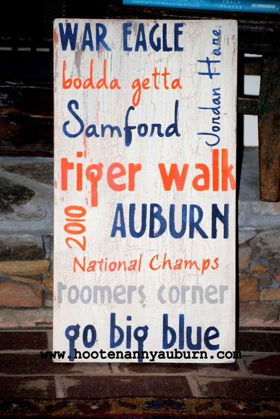 """distressed handpainted sign..11X21 inch sign....""""AUBURN TAILGATE""""...great gift idea...home decor"""