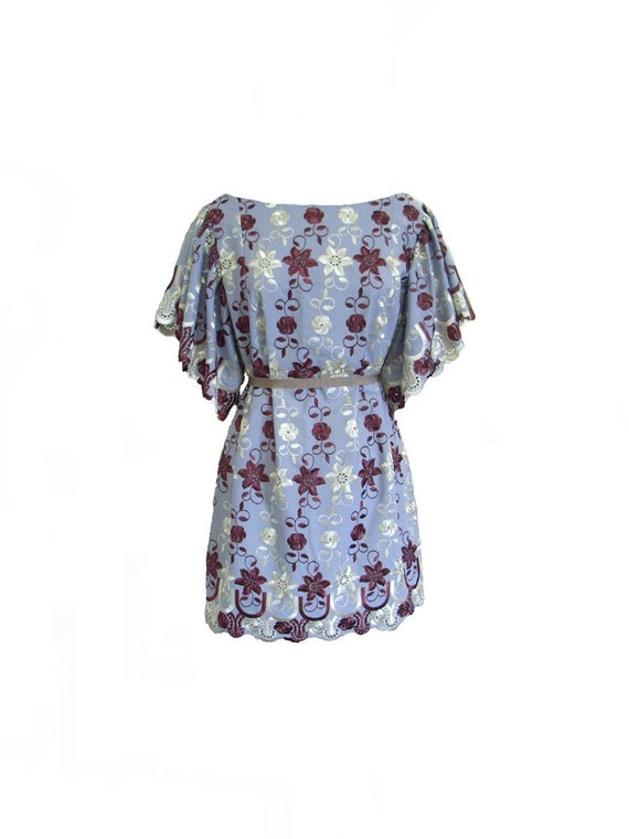 The Purple Cream and Red Embroidered Flare Sleeve Tunic Dress